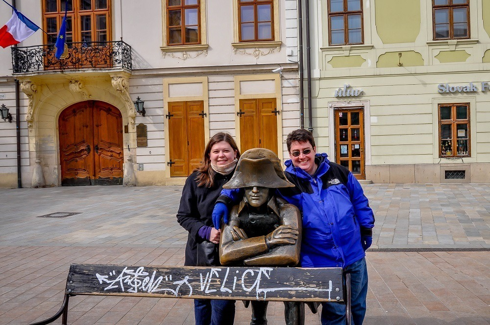 Lance and Laura with the quirky Napoleon statue in downtown Bratislava