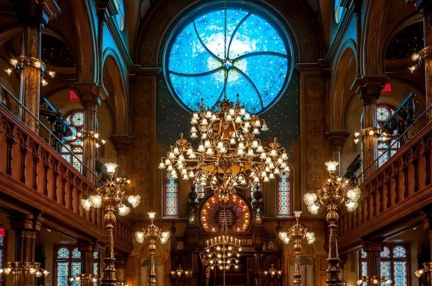 The Kiki Smith designed stained glass in the Museum at Eldridge Street on New York's Lower East Side