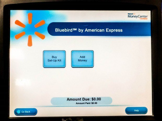 The Walmart ATM allows you to add money from travel hacking gift cards or debit cards onto your Bluebird account.