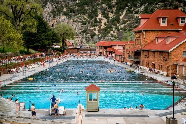 The Glenwood Hot Springs Pool in Glenwood Springs, Colorado. This is the world's largest hot springs pool and the best known Colorado hot springs.