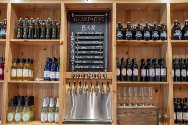 The wine and cider offerings at Spring Gate Vineyard.