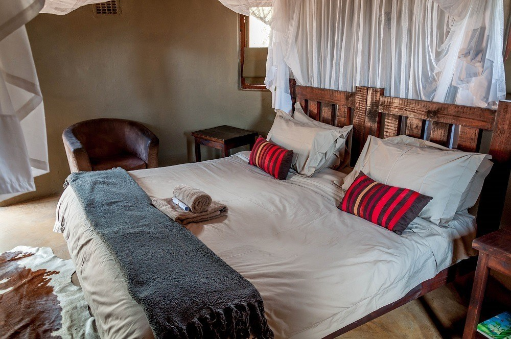 Inside our rondavel bedroom at Africa on Foot