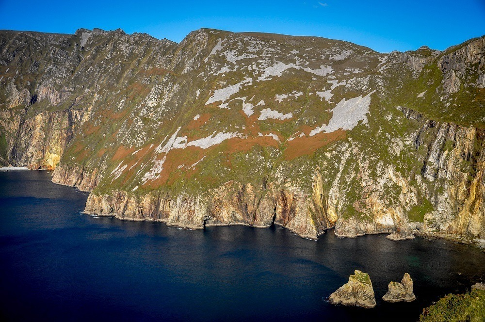 The sea cliffs of Slieve League are a great stop on a travel around Ireland road trip itinerary