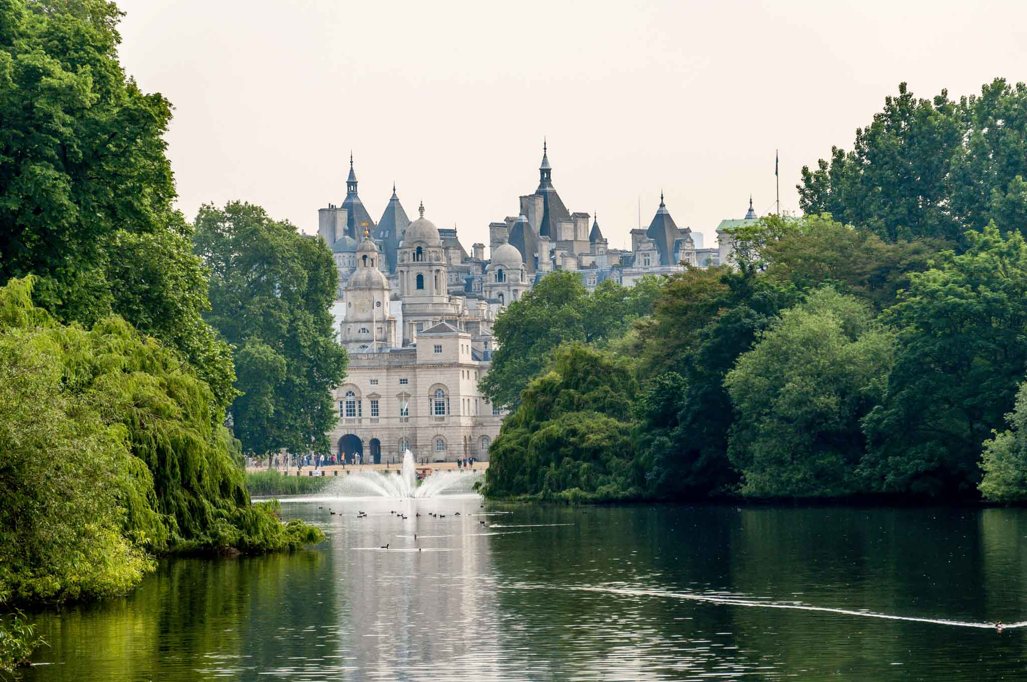 From the footbridge over the pond in St. James Park, you'll see the Horse Guards at the far end of the park.  This will be the next stop on your long London Heathrow Layover Itinerary.