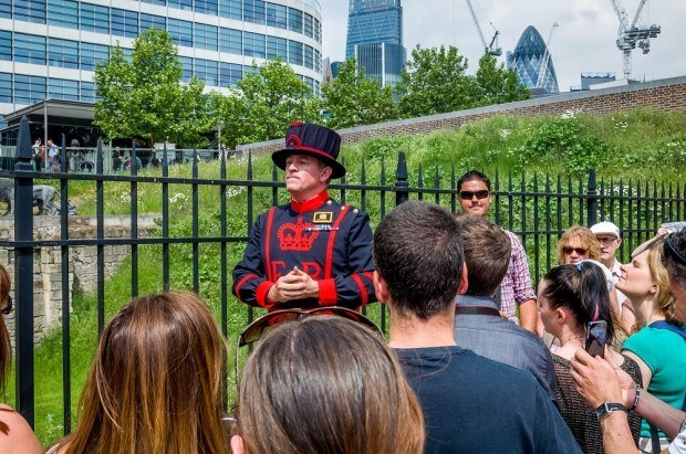 The guards at the Tower of London (called Beefeaters) give a fantastic tour of the Tower.  This should not be missed on your Heathrow layover itinerary.