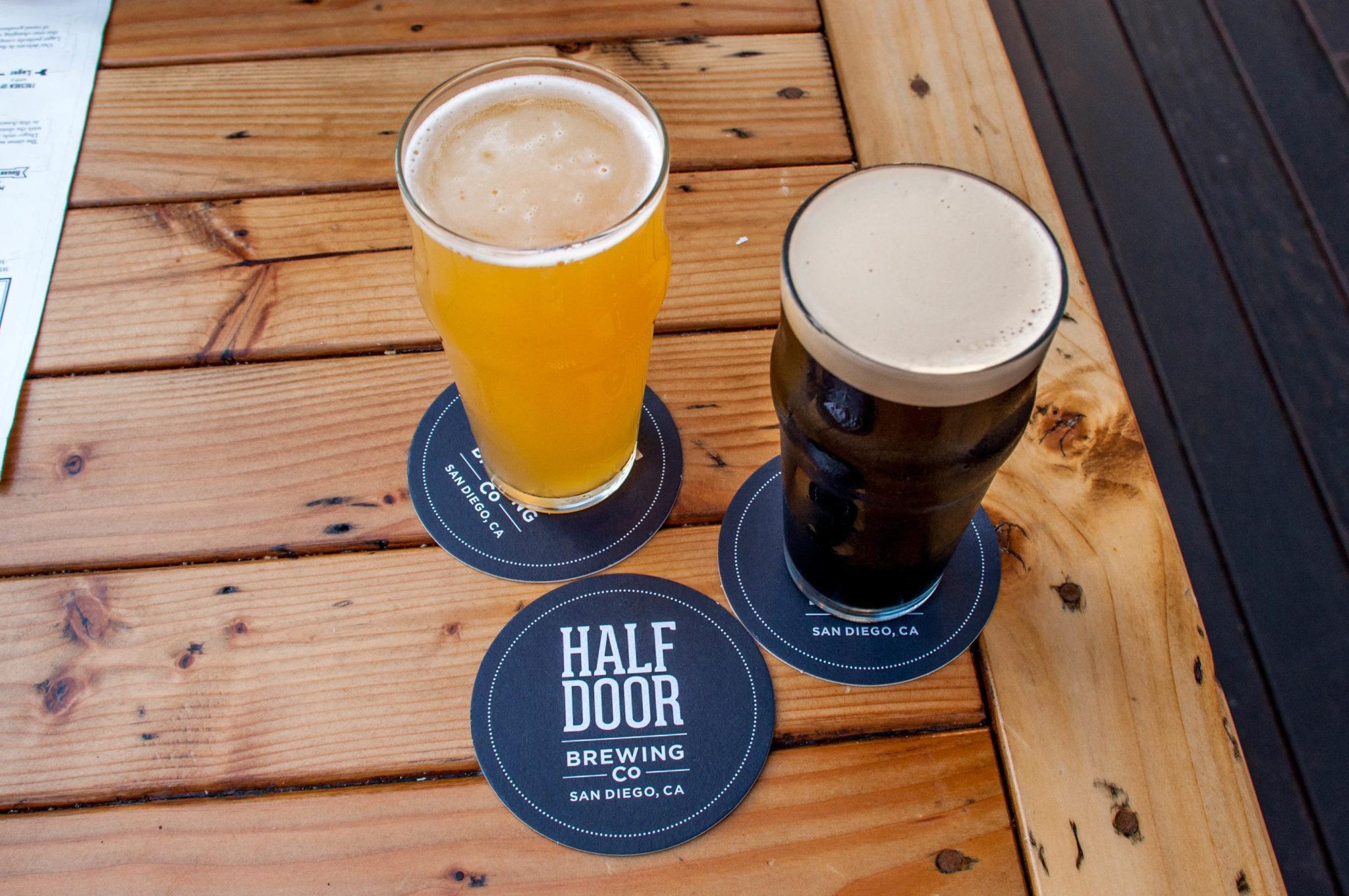 The brews at Half Door Brewing Company in San Diego