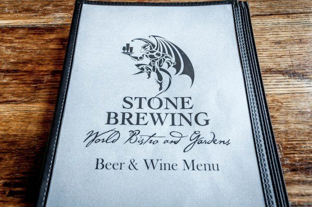 Menu at the Stone Brewing Company in Escondido - one of the great San Diego breweries.