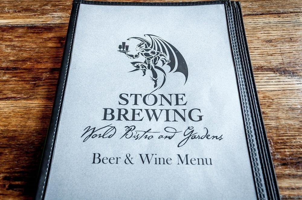 Menu at the Stone Brewing Company in Escondido