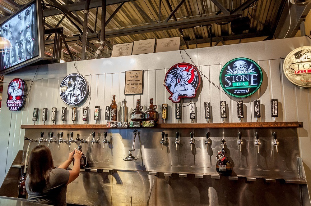 Beer growler taps at Stone Brewing Company