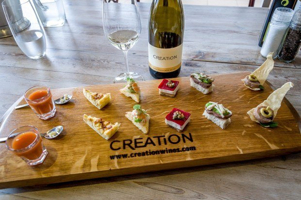 The canapés tasting board at Creation Wines Hemel en Aarde.