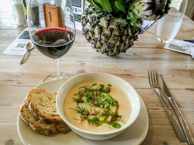The lunch-sized portion of the cauliflower and gorgonzola soup at the Creation Wines tasting room.