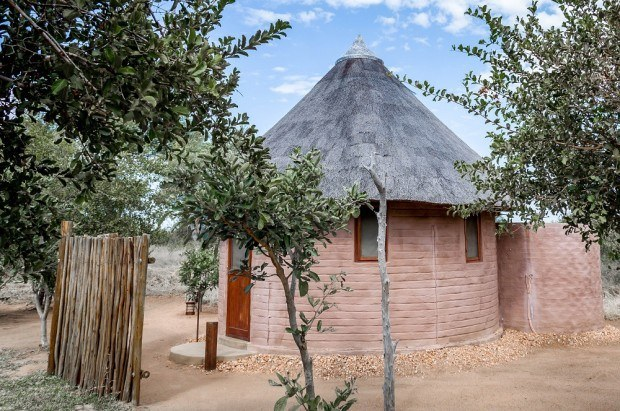 A rondavel (traditional African hut) at the Africa on Foot camp in the Klaserie Private Nature Reserve, South Africa.