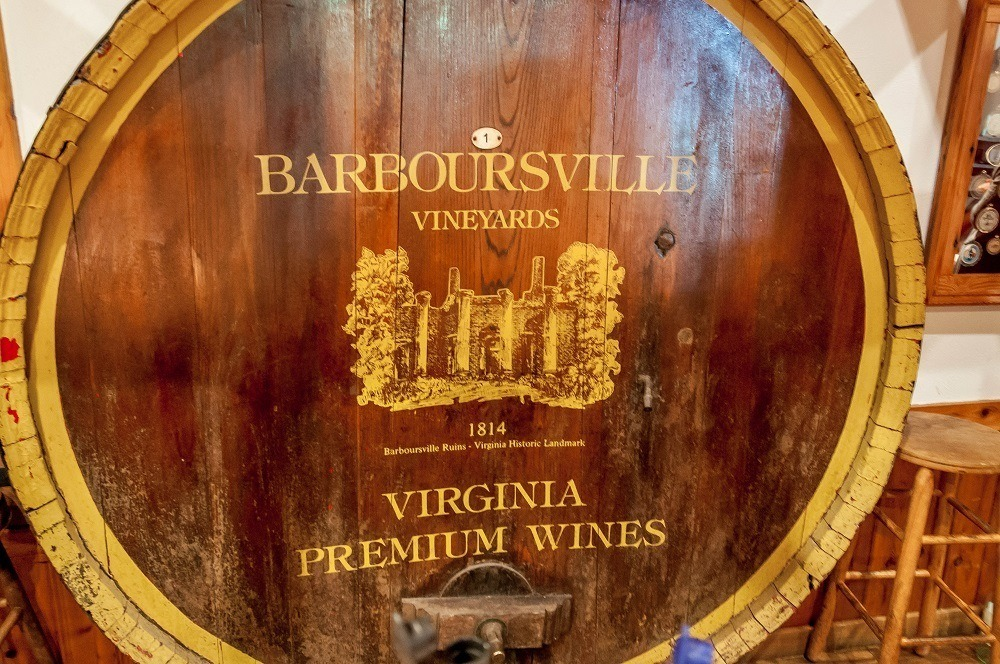 Cask at the Barboursville Vineyards - the old winery on the Monticello Wine Trail.