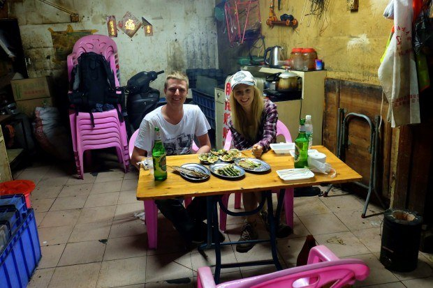 Agness and Cez of eTramping at a typical restaurant in Da Lang, Dongguan, China.