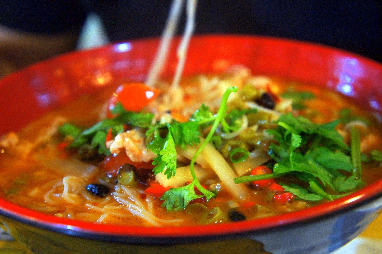Dongguan Expat Life - eating a bowl of spicy soup.