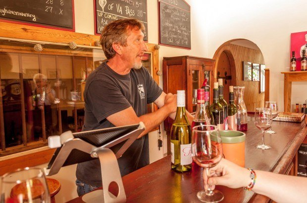 Deon serving South African wines at Grayhaven Winery.