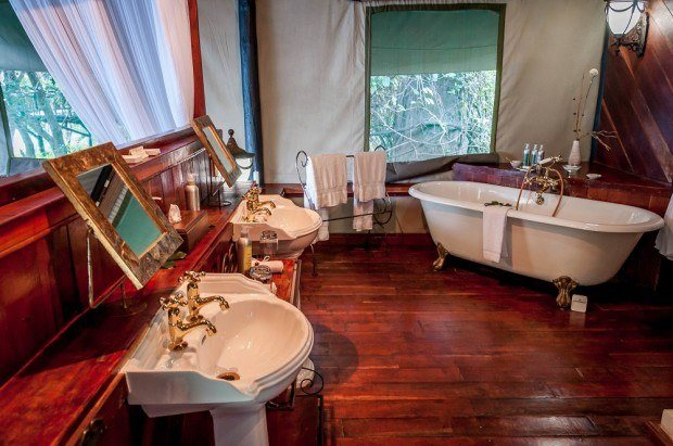 The bathroom in our room at the Islands of Siankaba.