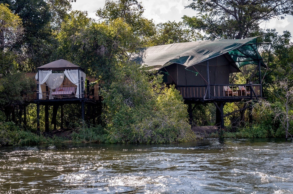 Chalets at the Islands of Siankaba at the edge of the Zambezi River