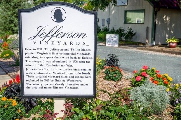 Thomas Jefferson's wine legacy - the Jefferson Vineyards on the Monticello Wine Trail.