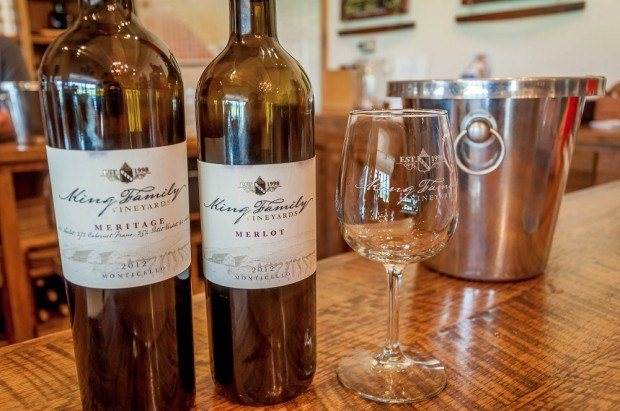 The amazing wines at the King Family Vineyards on the Monticello Wine Trail in Charlottesville, Virginia.