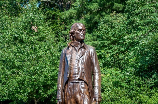 The statue of Thomas Jefferson begins your Monticello tour at the visitor's center.