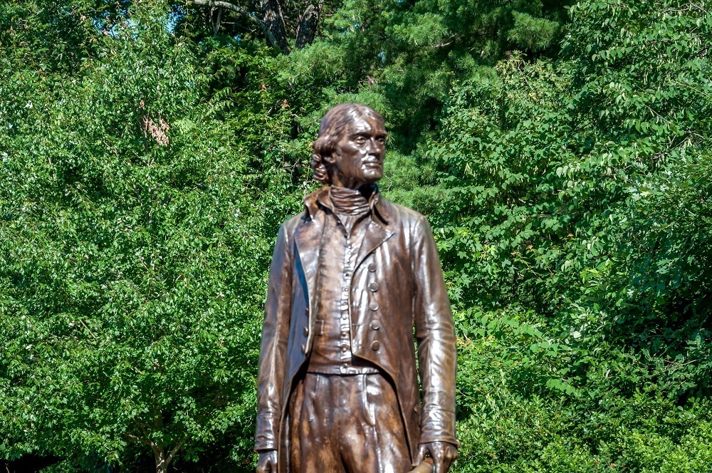 Statue of Thomas Jefferson at the Visit Monticello visitor's center