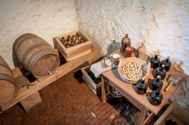 During the Monticello Tour, we viewed the small brewery operating in the basement of the house within the beer cellar.