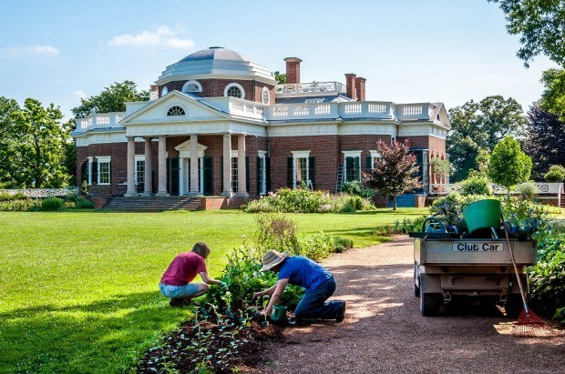 Gardeners at work on Thomas Jefferson's Monticello home in Charlottesville, Virginia.