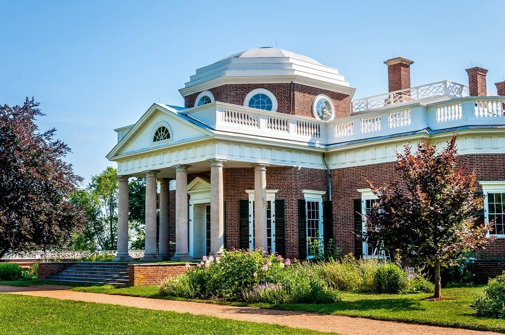 Thomas Jefferson's mountaintop home, Monticello, in Charlottesville, Virginia
