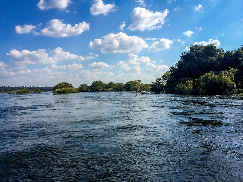 A view of the Zambezi River from the luxury lodge, Islands of Siankaba.