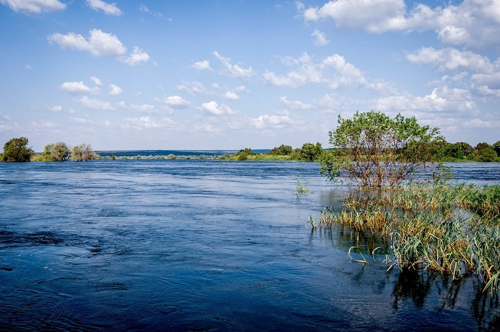 The view from our chalet at the Islands of Siankaba lodge first thing in the morning out over the Zambezi River.