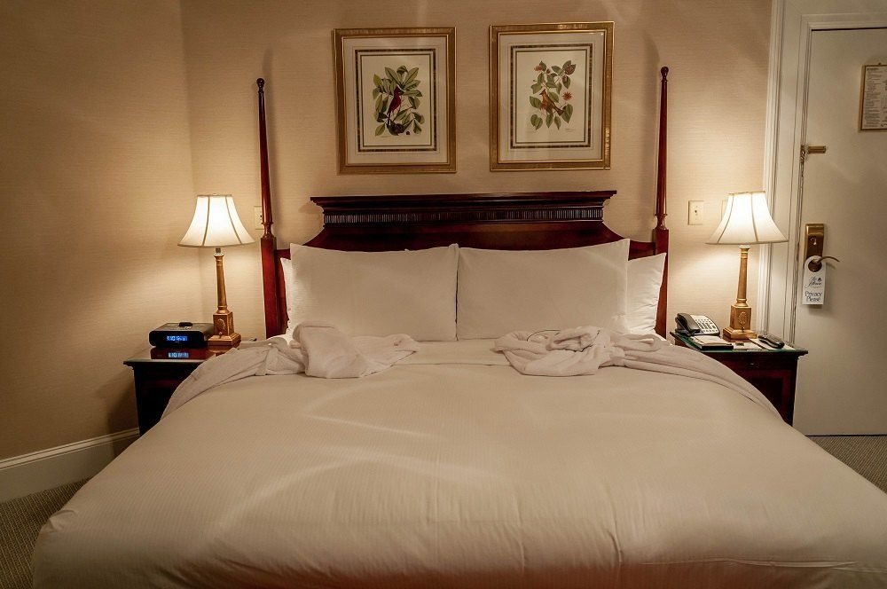 The king-sized bed at The Jefferson Hotel in Richmond, Virginia.