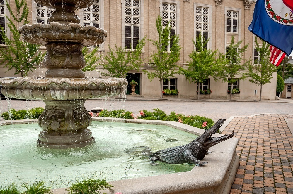An alligator statue in the fountain in front of The Jefferson Hotel Richmond Virginia.