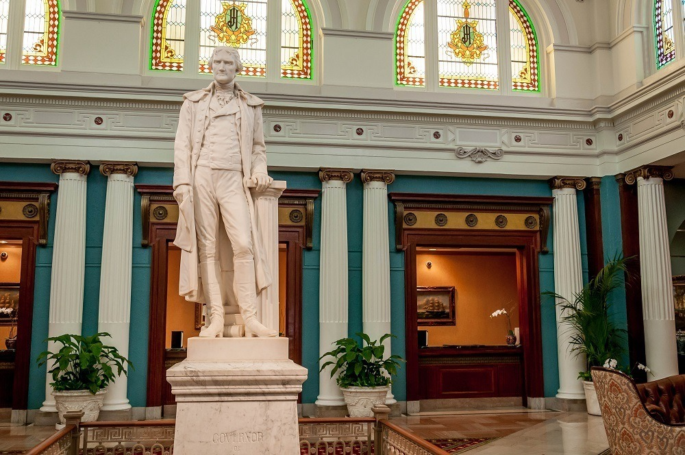Statue of Mr. Thomas Jefferson welcoming guests to The Jefferson Hotel.