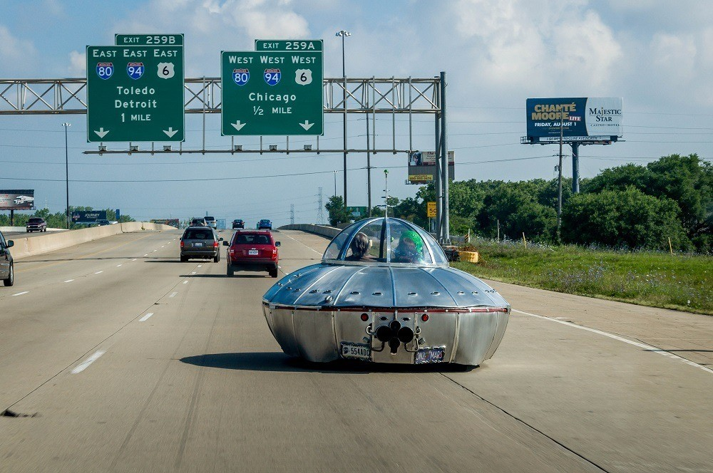 UFO car driving on the highway in Northern Indiana