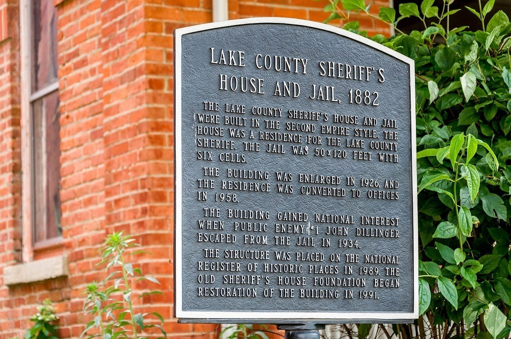 Historical marker sign for Lake County Sheriff's House and Jail