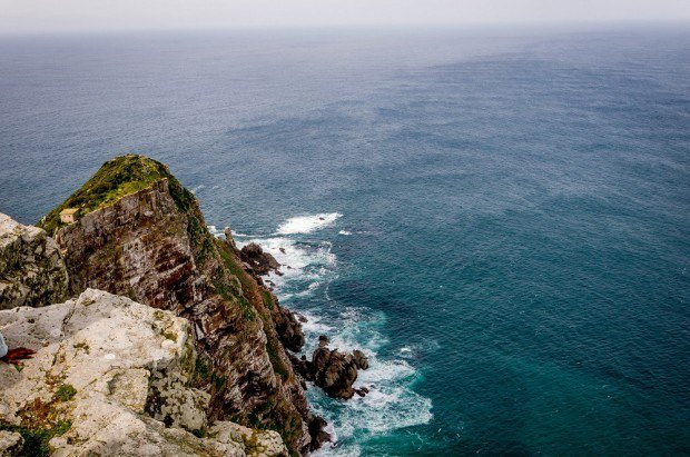 Looking down on the Cape Point from the lighthouse.