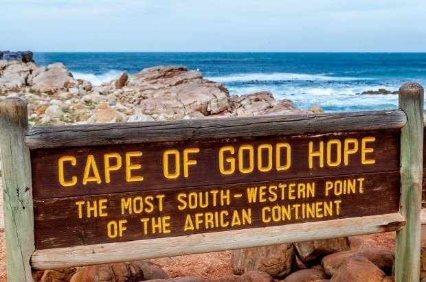 The wooden sign marking the Cape of Good Hope, the most southwestern point in Africa