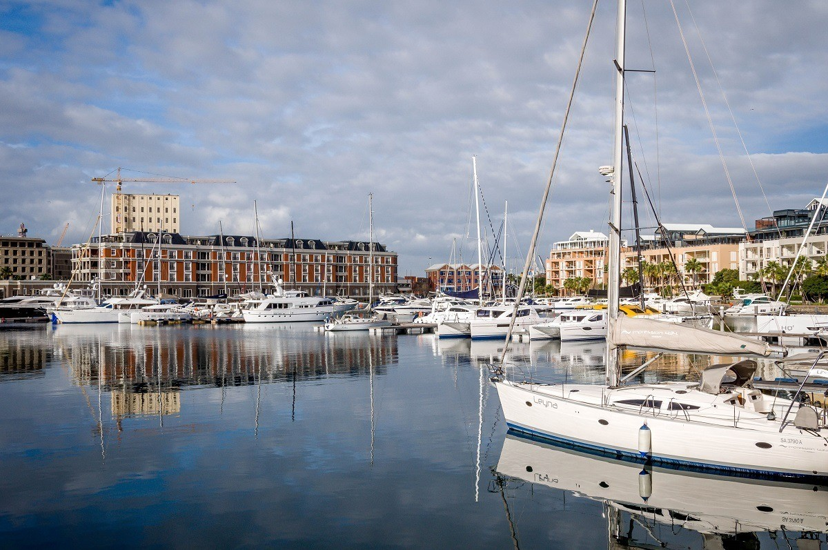 The Lawhill Luxury Apartments overlook the canal at the V&A Waterfront Marina in Cape Town, South Africa.