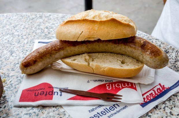The Frankische bratwurst in Wurzburg.
