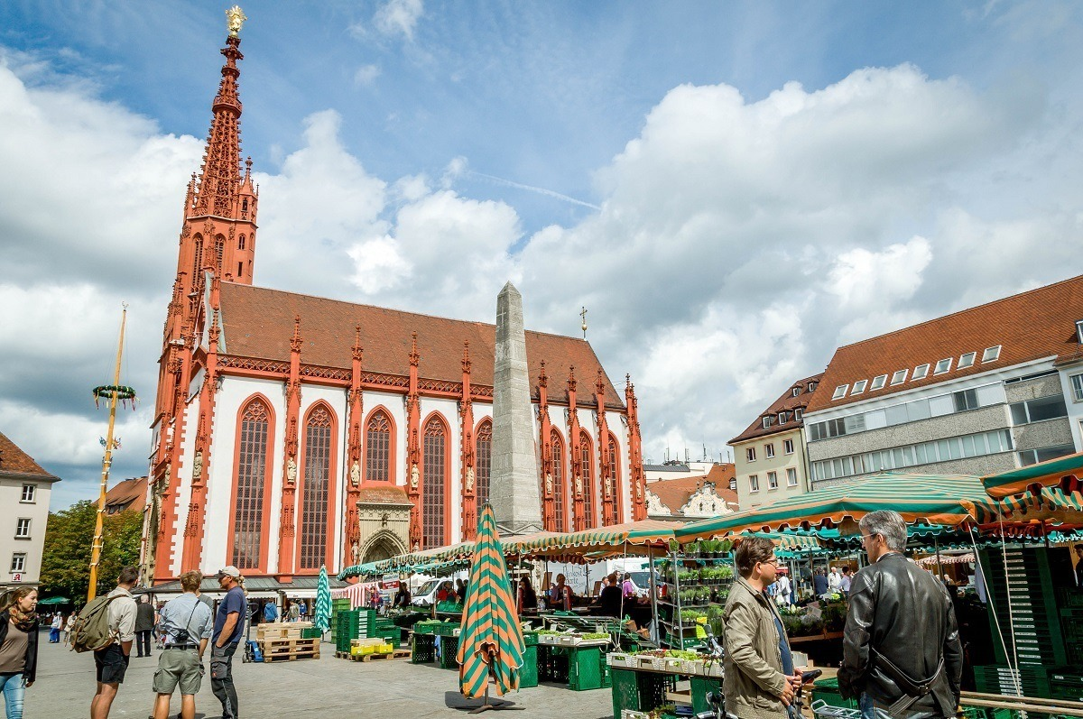 Wurzburg's Market Square and the Marienkapelle, the most popular Wurzburg church.  This church is actually more popular the Wurzburg cathedral, the Würzburger Dom Saint Kilian.