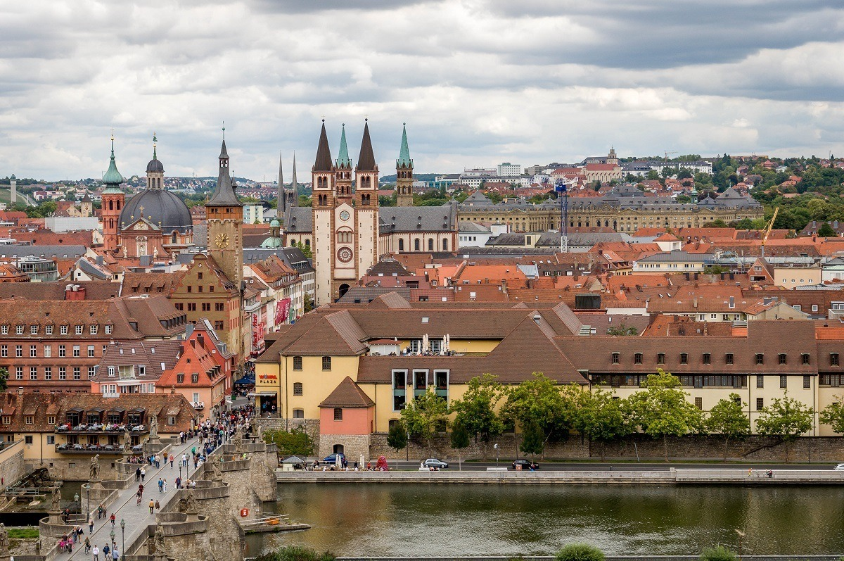 A Wurzburg walking tour offers stunning views from the Marienberg Fortress of the old city.