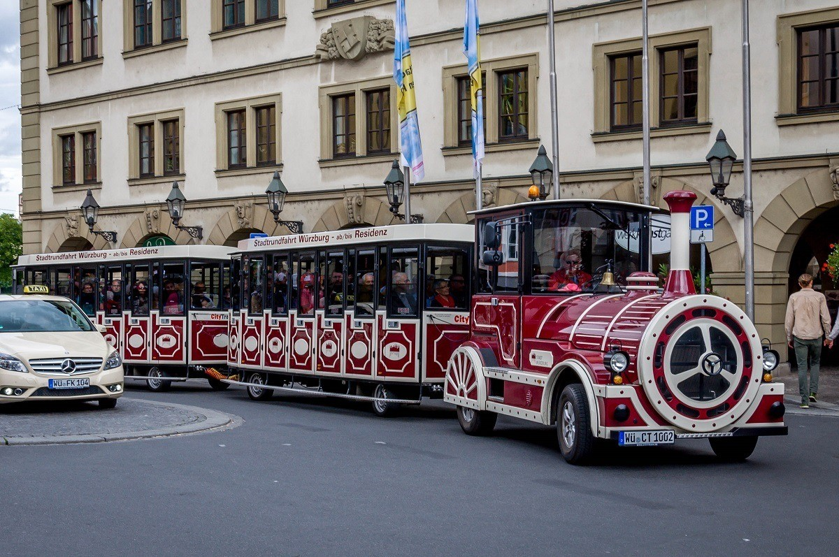 The tourist train operated by Wurzburg Tourism connects the top things to do in Würzburg Germany.