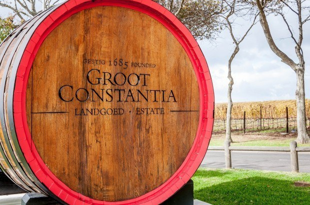 The sign for Groot Constantia, the oldest winery in the South Africa wine region.