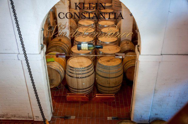 Barrels in the aging cellar at Klein Constantia on the Constantia Wine Route.