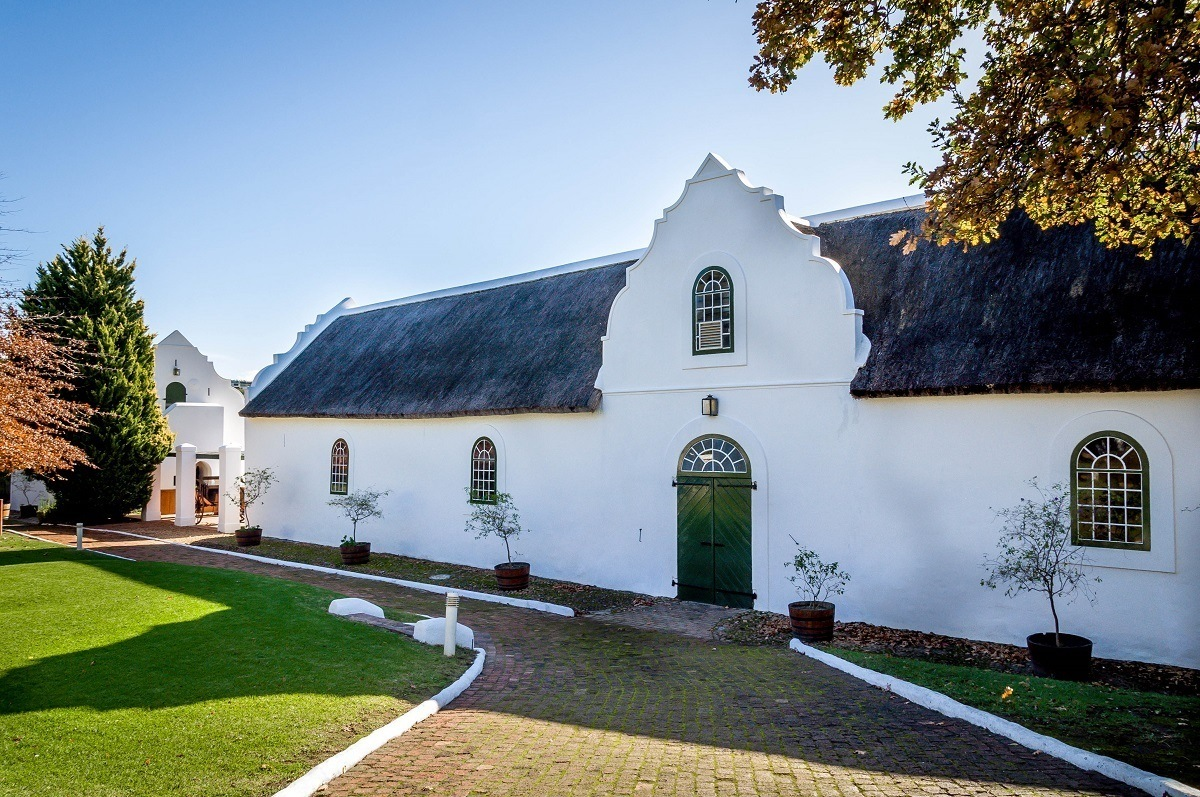 Traditional colonial Dutch architecture at the Morgenhof Estate winery on the Stellenbosch Wine Route