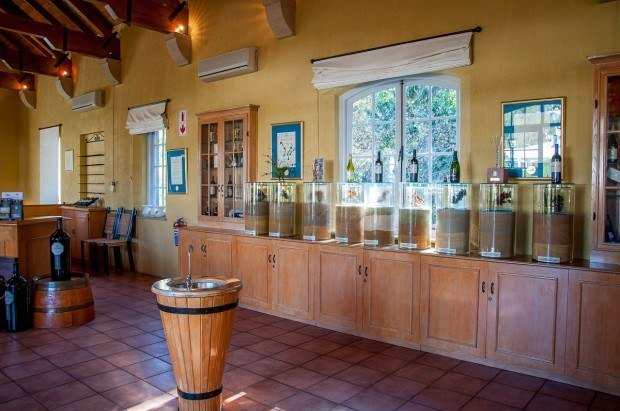 The tasting room at the Morgenhof Estate winery on the Stellenbosch Wine Route, South Africa.