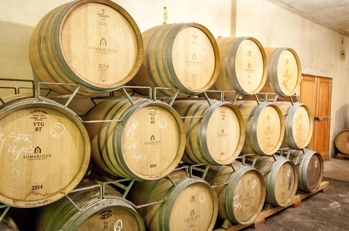 Aging barrels at Sumaridge Estate Wines in the Hemel-en-Aarde Valley, South Africa.