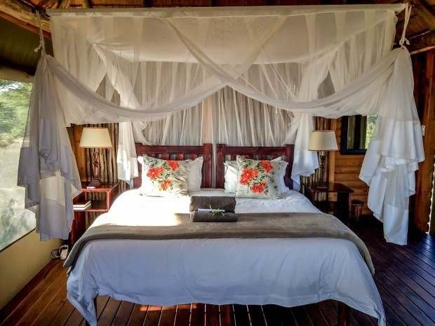 The bedroom in our chalet at nThambo Tree Camp in the Klaserie Private Nature Reserve.