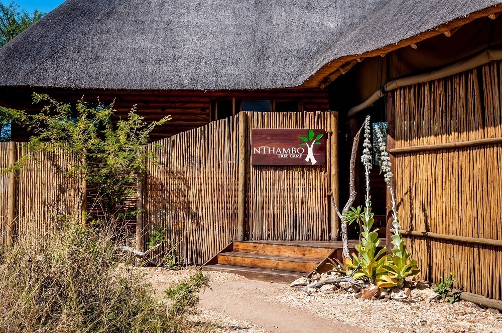 The welcome sign to  nThambo Tree Camp in the Klaserie Private Nature Reserve.